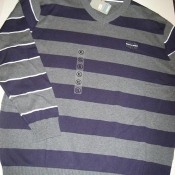 pull V coton ligné mauve/gris gcm pour homme - reste L & XL EN PROMO