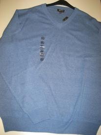 pull V coton bleu pour homme - grandes tailles