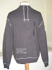 pull 3 boutons coton lourd gris chiné pour homme - grandes tailles en PROMO