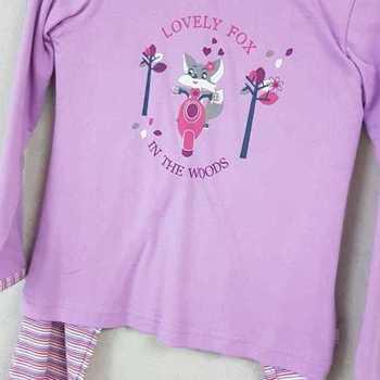 pyjama coton interlock lovely fox ( eskimo) - parme - reste 5 & 6 ans EN PROMO