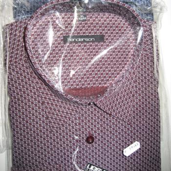 chemise longues manches polyester-coton motif bordeau ou bleu pour homme - 5XL