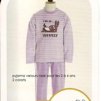 pyjama velours rasé so lazy (eskimo) 2 ans EN PROMO