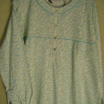 robe de nuit molletonnée feuilles - aglia turquoise EN PROMO - reste XXL