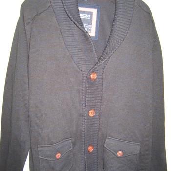 gilet boutonné coton marine avec col châle  pour homme - reste M/L EN PROMO