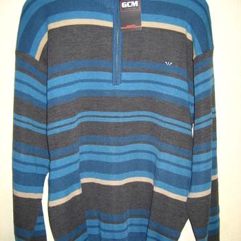pull ligné turquoise et gris foncé 1/2 tirette avec laine pour homme EN PROMO - reste M