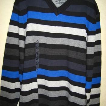 pull V ligné noir-gris-bic pour homme EN PROMO : L - XL - XXL