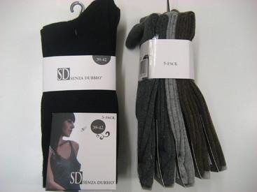 chaussettes gris/marron avec du coton pour dame : 5 pour 6.16€