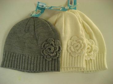 bonnet tricot pour fille avec 1 fleur en gris