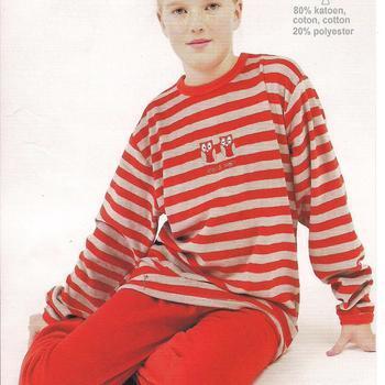pyjama velours rasé pour filles - ligné rouge hiboux EN PROMO - reste 10 ans