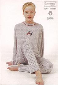 pyjama velours rasé pour filles de 8 à 16 ans - broderie : vache en rouge ou gris clair EN PROMO