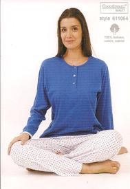 pyjama coton pour dame - pantalon pois - reste S