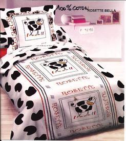 housse de couette 1.40*2m + 1 taie en coton pour lit d'1 personne - vache rosette