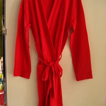 peignoir croisé coton - rouge reste L