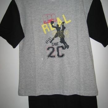 pyjashort coton pour garçons - basket gris/noir 8 ans 10 ans
