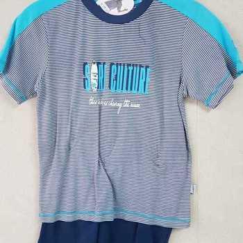 pyjashort coton pour garçons - chasing turquoise - reste 8 ans EN PROMO