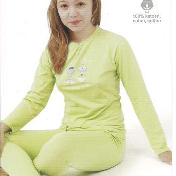 pyjama coton jersey pour filles - cupcake vert - reste 8 ans - 14 ans - 16 ans