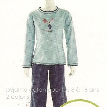 pyjama coton jersey pour filles bleu 6 à 16 ans - sweet home EN PROMO