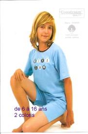 pyjashort coton pour filles de 6 à 16 ans - apple marine