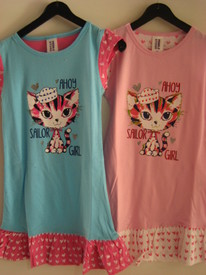 liquette coton pour filles de 2 à 8 ans - chat sailor