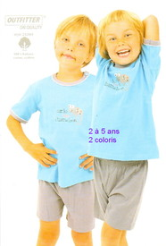pyjashort pour les garçons de 2 à 5 ans - cameleon