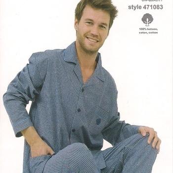 pyjama boutonné coton pour homme ligné marine en PROMO - reste S