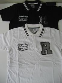 polo coton courtes manches RG blanc ou noir pour homme