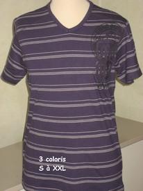t-shirt coton ligné badge pour homme