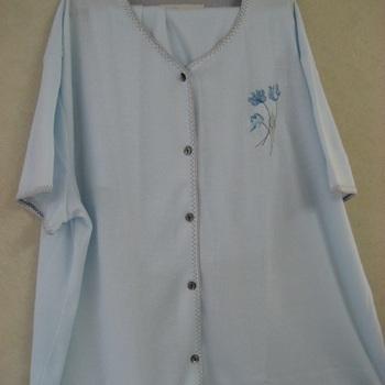 pyjama corsaire boutonné cotelé ciel pour dame isabel, 3XL
