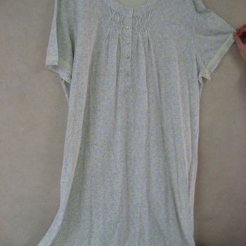 robe de nuit courtes manches coton pour dame - catini anis 3XL