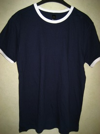 t-shirt coton modèle droit marine bord blanc