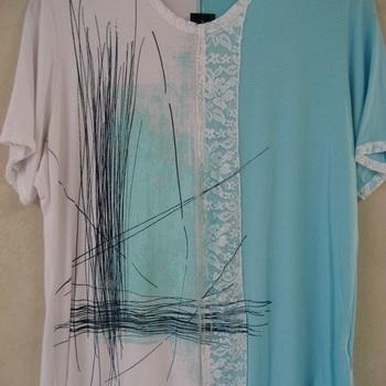 t-shirt courtes manches nana turquoise pour dame - 50/52 EN PROMO