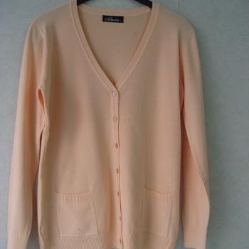 gilet boutonné avec poches pour dame - doux tricot EN PROMO - oranger 40/44