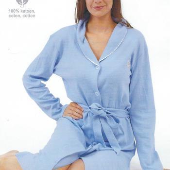 peignoir boutonné coton gaufré pour dame - bleu turquoise reste L