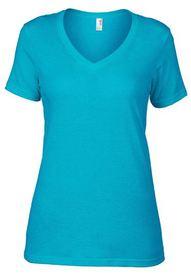 t-shirt dame en V, modèle droit - tissu coton doux