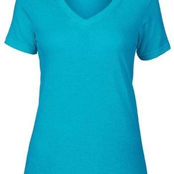 t-shirt dame en V, modèle droit - anvil - tissu coton doux 46/48