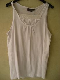 top coton larges bretelles avec fronces et dessin dans le tissu - 42/44 EN PROMO