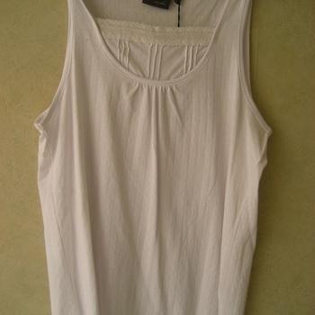 top coton larges bretelles avec fronces et dessin dans le tissu - blanc 42/44 EN PROMO