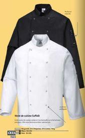 veste de cuisinier longues manches en coton : noir ou blanc