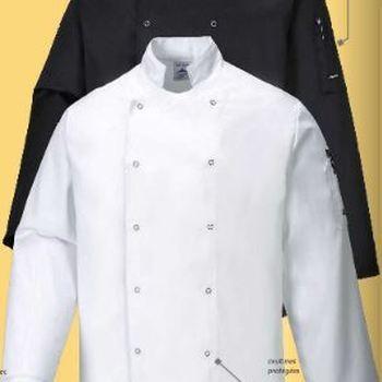 veste de cuisinier longues manches en coton : blanc EN PROMO