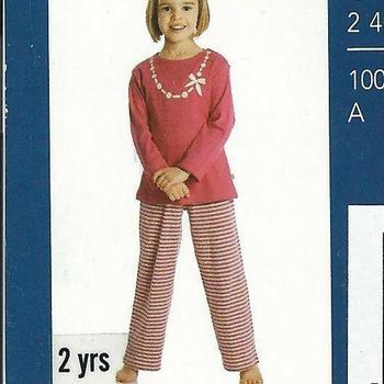 pyjama interlock (coton lourd) pour fille de 2 -3 ans - collier EN PROMO