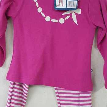 pyjama interlock (coton lourd) pour fille reste 2 ans - collier fuschia EN PROMO