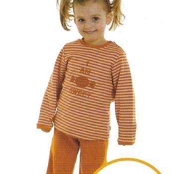 pyjama interlock (coton lourd) pour fille - rouille === EN PROMO reste 2 ans 3 ans 4 ans