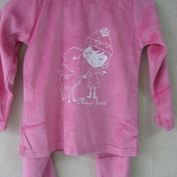 pyjama velours rasé pour fille de 4 à 6 ans - magic forest rose EN PROMO