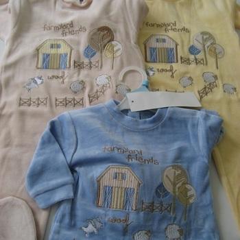 pyjama velours rasé brodé ferme - 3 à 12 mois