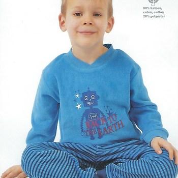 pyjama velours rasé pour garçon de 4 - 6 ans - robot bleu ou rouge