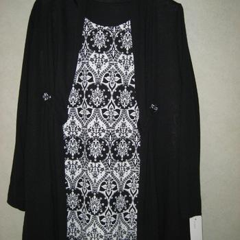 blouse noir/blanc + gilet noir : les 2 pièces