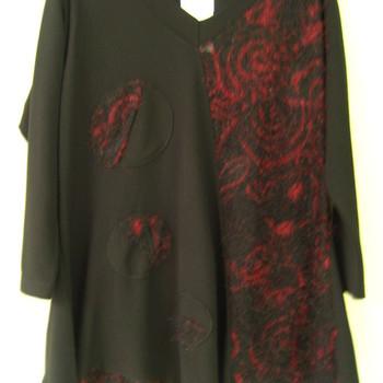 blouse noir-bordeau pour dame - 46/52 - en PROMO