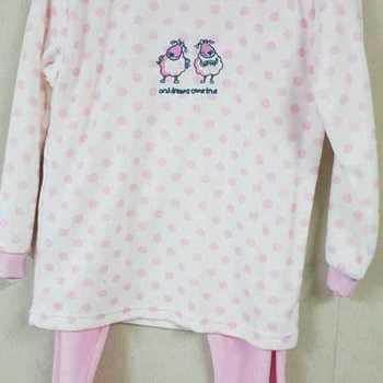 pyjama velours rasé pour fille - reste 6 ans - écru pois rose EN PROMO