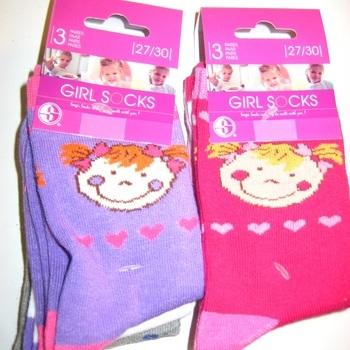 chaussettes petite fille avec 75% coton : 3 pour 2.50€