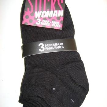 socquettes unies noir ou blanc avec 78% coton - pointure 36/41 : 3 pour 2.40€